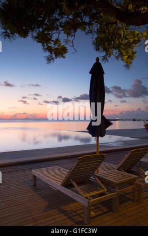 Pool at Olhuveli Beach and Spa Resort, South Male Atoll, Kaafu Atoll, Maldives (PR) - Stock Photo