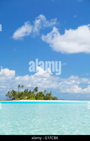Tropical island, South Male Atoll, Kaafu Atoll, Maldives - Stock Photo