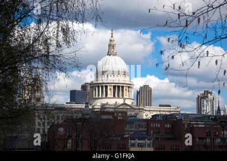 Top of St Paul's Cathedral as seen from the Tate Modern southbank London, UK - Stock Photo