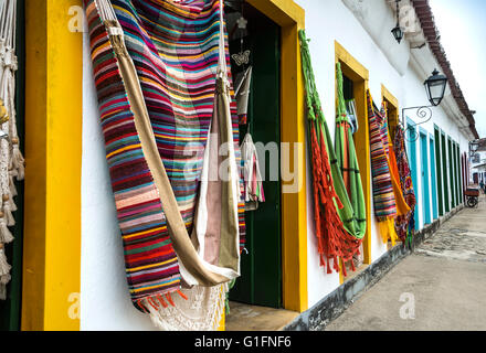 Parary, Rio de Janeiro, Brazil - February, 15, 2016: Hammocks, market place in the Old Town of Paraty (state of - Stock Photo