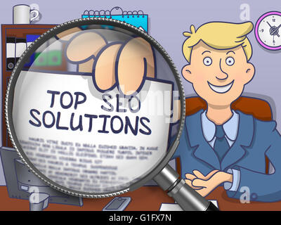Top SEO Solutions through Magnifying Glass. Doodle Design. - Stock Photo