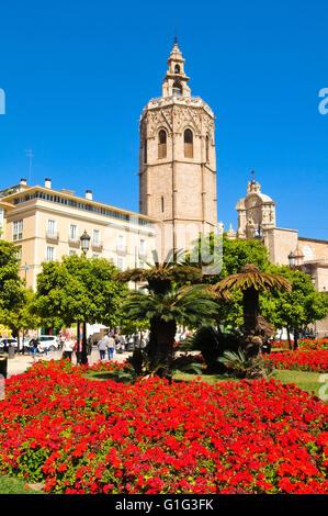 Valencia, Spain - March 29, 2016: Tourists visit Plaza de la Reina, major landmark in the old town of Valencia, - Stock Photo
