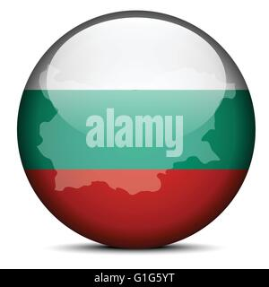 Vector Image - Map on flag button of Republic of Bulgaria - Stock Photo