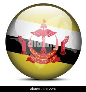Vector Image - Map on flag button of Brunei Darussalam - Stock Photo