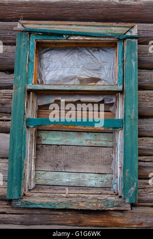 wooden window in an old country house - Stock Photo