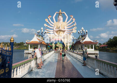 Goddess Avalokiteśvara, Wat Plai Laem Wat Laem Suwannaram temple in Ban Bo Phut, Ko Samui, Thailand, Asia - Stock Photo