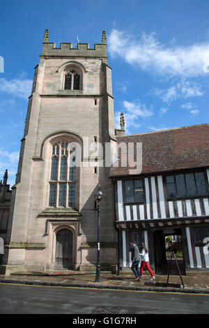 Guild Chapel with Shakespeare's Schoolroom and Guildhall, Stratford Upon Avon; England; UK - Stock Photo