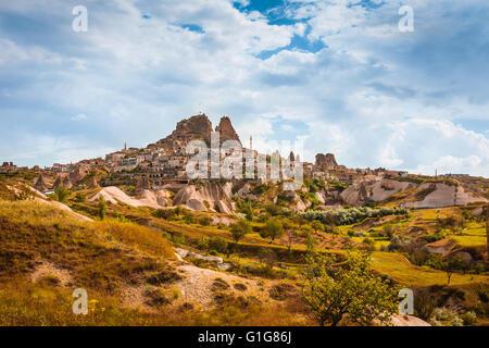 Turkish fortress Uchisar Cappadocia Turkey - Stock Photo
