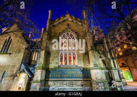 The Church of the Holy Trinity at night, in Toronto, Ontario. - Stock Photo