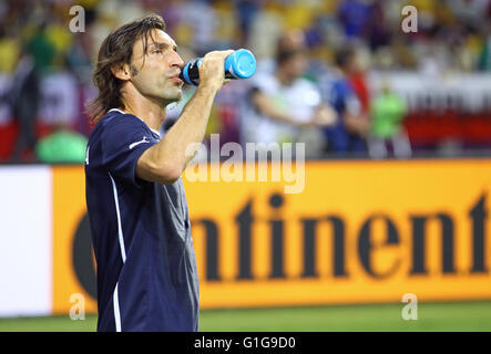 KYIV, UKRAINE - JULY 1, 2012: Andrea Pirlo of Italy drinks water during warm-up session before UEFA EURO 2012 Final - Stock Photo