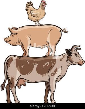 farm animals. cow, pig, chicken. vector illustration - Stock Photo