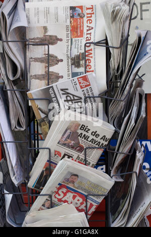 The Arab Weekly newspaper on a news stand in London - Stock Photo