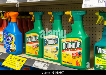 Spray bottles of Roundup weedkiller on sale in a Homebase store. - Stock Photo