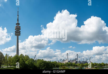 The Central Tower  and the Olympic Stadium of Munich Germany - Stock Photo