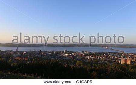 Elevated view of Tay Road and Rail bridge Dundee at dawn Scotland  May 2016 - Stock Photo