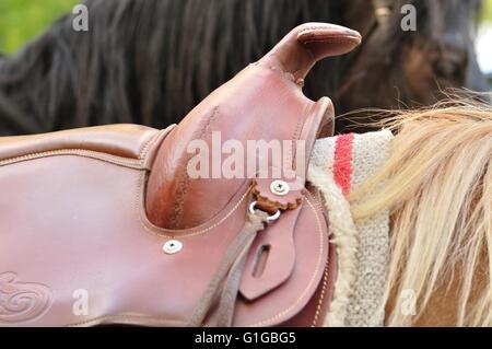 Detail of western Horse Saddle - Stock Photo