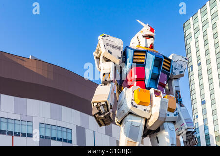 Tokyo, Japan - 16 February 2015: The 1:1 scale mobile suit Gundam RX78-2 which is 18 metres high from 'Mobile Suit - Stock Photo