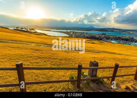 View from Seongsan Ilchulbong moutain in Jeju Island, South Korea. - Stock Photo