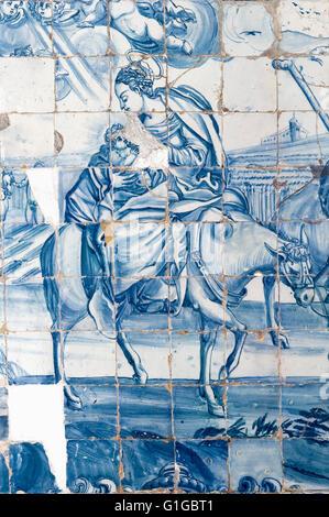 Azulejos, Painted Ceramic tiles, Cathedral Alto da Sé, Olinda, Pernambuco state, Brazil, UNESCO World Heritage Site - Stock Photo