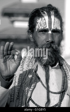 sadhu in durbar square kathmandu nepal - Stock Photo