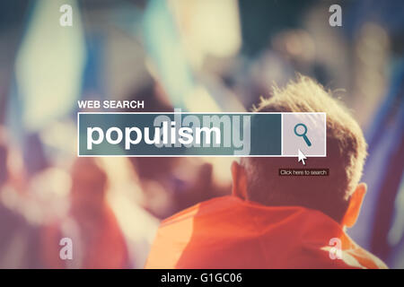 Web search bar glossary term - populism definition in internet glossary. - Stock Photo