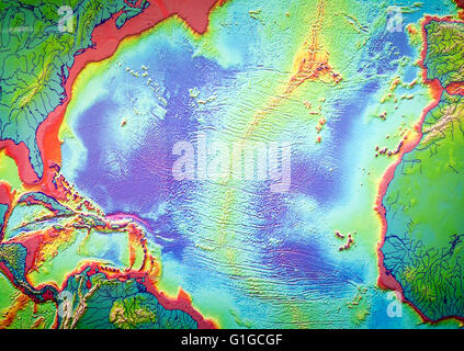 Map of mid Atlantic ridge and volcanoes,  Casa de los Volcanes volcanic study centre, Lanzarote, Canary island, - Stock Photo