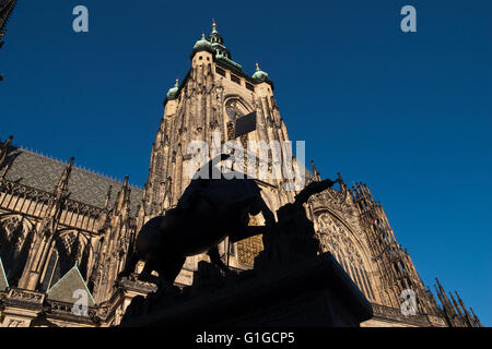 Statue in front of St. Vitus Cathedral in Prague - Stock Photo