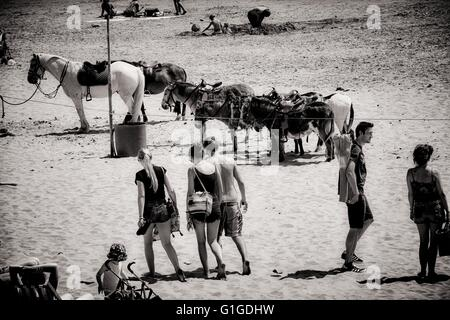 Holiday makers both adult and children playing on the beech at Barry Island South Wales UK during the summer of - Stock Photo