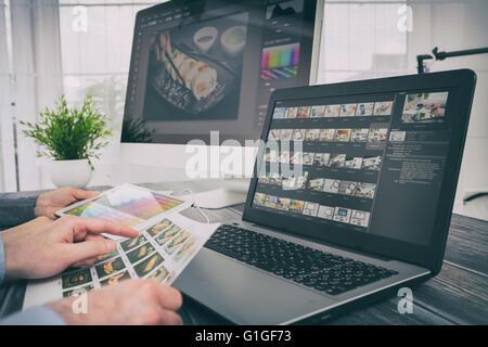 photographer camera editor monitor design laptop photo screen photography - stock image - Stock Photo