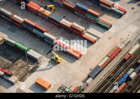 Aerial photo of container terminal with rail traffic - Stock Photo