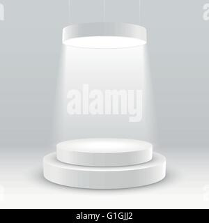 illuminated white round podium vector illustration. - Stock Photo