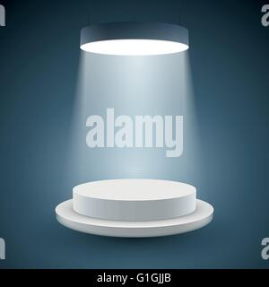 illuminated white round podium on dark background. Vector illustration. - Stock Photo