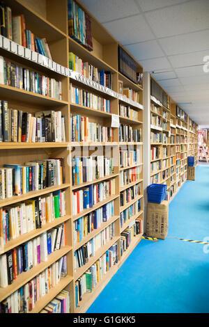 Secondhand books on bookshelves in huge Bookbarn International shop, Hallatrow, near Bristol, England, UK - Stock Photo