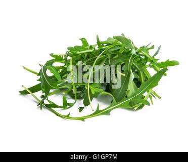 Fresh organic arugula leaves heap isolated - Stock Photo