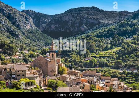 Mountain village Valldemossa in Majorca, Spain - Stock Photo