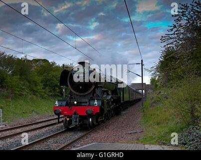 Wallyford, UK, 14 May 2016. The Flying Scotsman locomotive traveling to Edinburgh, Scotland through Wallyford station, - Stock Photo