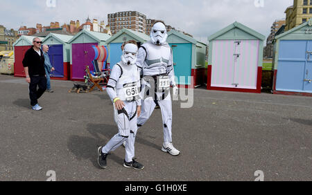 Hove Brighton UK 15th May 2016 - Stormtroopers arrive to take part in the Heroes v Villains Save the Day charity - Stock Photo
