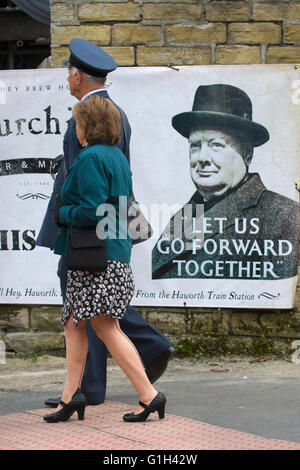 1940s WW2, WWII. World War two. Wartime poster in Haworth, North Yorkshire, UK. Advertising 1940s Churchill quotation - Stock Photo