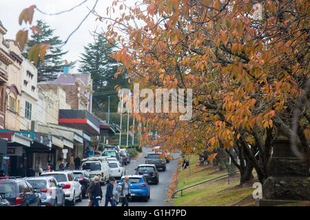 The village of Leura in the Blue Mountains Sydney, Australia, popular village with tourists and visitors to the - Stock Photo