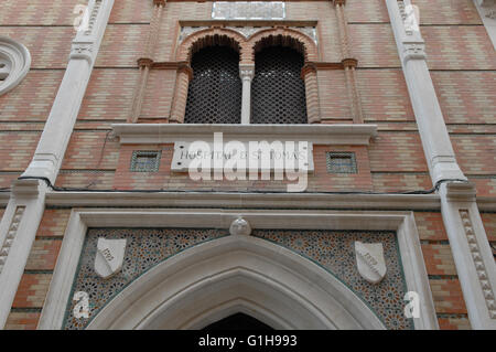 Hospital Entrance in central Malaga Spain - Stock Photo