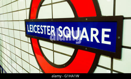 Leicester Square underground station on Charing Cross road in theatreland west end London England UK - Stock Photo