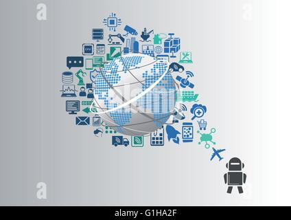 Smart machines and industrial internet of things (IOT) infographic - Stock Photo