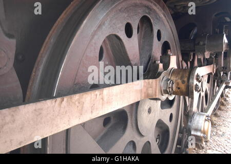 Steam Engine driving wheels large wheels connecting rod - Stock Photo