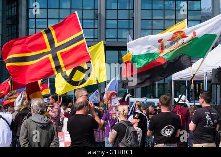Far-right demonstrators protest against Islam, refugees and Angela Merkel in Berlin - Stock Photo