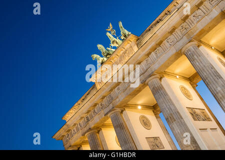 Brandenburg Gate in the evening in Berlin Germany - Stock Photo