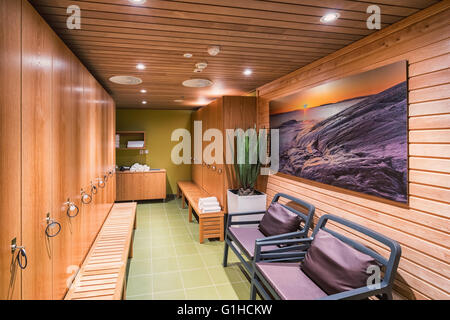 Locker room of a hotel's sauna, Helsinki, Finland, Europe, EU - Stock Photo