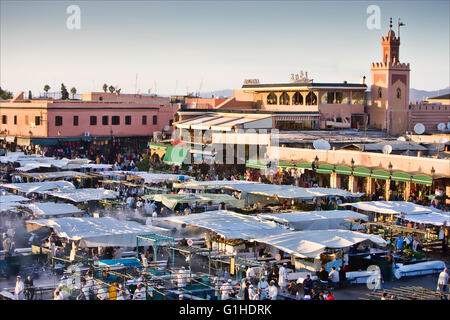 Jemaa el-Fnaa town square in Marrakech, Morocoo. - Stock Photo