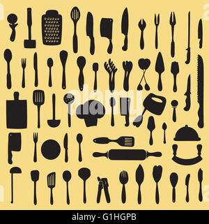 Vector illustration of cooking utensil set in silhouette mode - Stock Photo