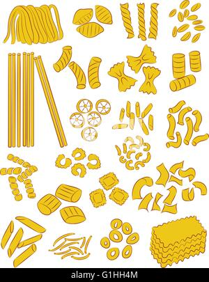 vector selection of different types of pasta - Stock Photo