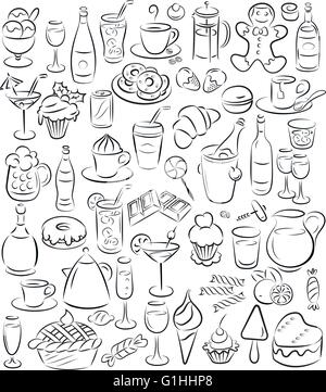 vector illustration of sweet food and drinks collection in line art mode - Stock Photo